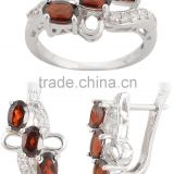 Reddish Brown Garnet 925 Sterling Silver Ring Earring Set