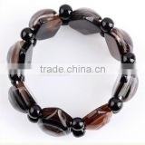 Black Agate Stone Gemstone Evil Eye Beads Stretchy Bracelet Bangle Wristband