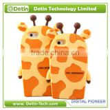 Cute Giraffe 3D animal silicone mobile covers for iphone