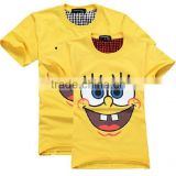 Customized plain yellow printed t shirts