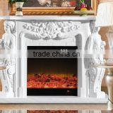Carving Natural Stone Figure Sculpture Fire place Surround, Indoor Freestanding Fireplace Mantel