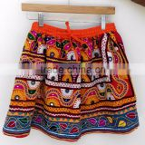 Multi color one size hand embroidered banjara short skirts bohemian
