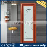 waterproof frosted custom swing aluminium glass bathroom door wooden corlor for villa                                                                         Quality Choice