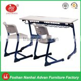 double student desk with injection edge banding pp blow molding chair for school furniture