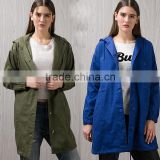 Women's Hooded Drawstring Military Jacket Parka Coat Army Green Blue Coat Light Jacket