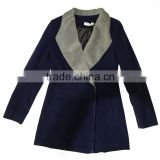 Chinese new fashion design OEM custom factory supply wholesale dark blue winter warm women coat for ladies