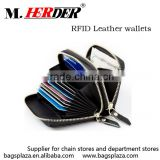 Online shopping Business Card Wallet Fashion Zipper Closed RFID Leather Men's Wallet Bags