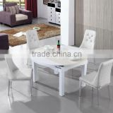 Simple Design Glass/Mable Top Extendable Round Dining Table Set Extension Dining Table Dining Room Furniture