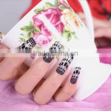 Custom nail art stamping plates high quality nail wrap from beauty sticker black white lace figer nail