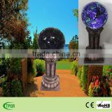 Garden outdoor decoration lighting for mosaic polyresin Roman Column glass solar light for garden outdoor decoration lighting