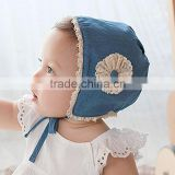 The new cowboy hat lace lace flowers in spring and Summer Palace Korean Baby Princess Hat ear cap
