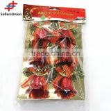 No.1 yiwu exporting commission 2016 new products plastic red bell christmas ornaments 6pcs agent wanted