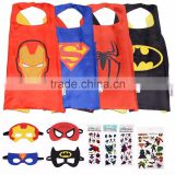 YS Super hero Cape and Mask Costumes For Kids SET Capes Masks Stickers and Tattoos