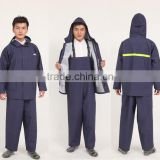 Small order acceptable windproof and water resistant plastic rain bib pant coat used as outdoor work wear in rainy days
