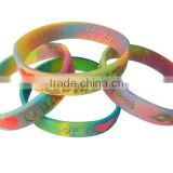 Rainbow colorful candy power band wholesale silicone love link bracelet
