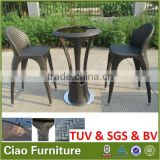 garden outdoor rattan furniturebar table set with brown glass bar stool