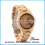 Stylish custom logo women Japan Movement wood watch face