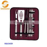 15pcs stainless steel tools holder bbq set with a nylon bag