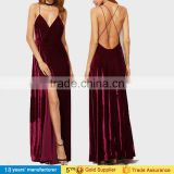New sexy fashion burgundy spaghetti strap backless wrap maxi long party velvet prom dresses 2016