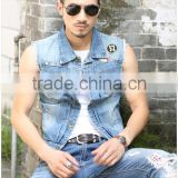 The summer new fashion sleeveless tank top denim vest waistcoat for men