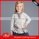 Girls' button up tassels hem hoodie cardigan sweater with wholesale price