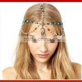 New Design Gold Crystal Beads Hair Band Elastic Headband Headmade Crystal Glass Beads Hair Band