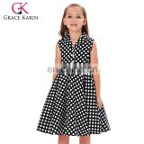 Grace Karin Kids Vintage 50s Dress Girls Retro Vintage Sleeveless Lapel Collar Black Dress With White Polka Dots CL009000-1