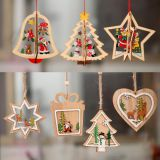 Wooden hanging star heart tree bell pendant decoration for christmas party decoration