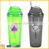 Double wall insulated plastic tumbler clear plastic cup with lid and straw                                                                         Quality Choice