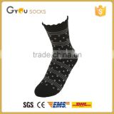Fashion women black winter cotton lace socks with stripes and dot printed