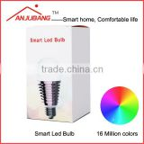 smartphone controlled led bulb RGB brightness color changeable E27 6w zigbee led lighting