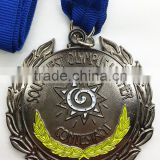 2014 Custom Made Logo metal medal black nickel with ribbon