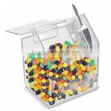 wholesale house shaped acrylic candy storage bin with spoon personalized acrylic candy gift box
