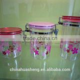 2015 Best Selling plastic flower printed candy box airtight canister seal pot customer color