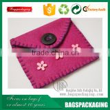 factory supply purple floret embellished small felt pouch with button