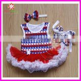 Wholesale blue star print baby girl romper bodysuit pettiskirt with headband and shoes