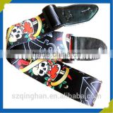 2016 horrific custom skull bass guitar strap with leather end supplier