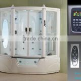 Corner Steam shower room with remote controller G152 bamboo tempered glass steam sauna room