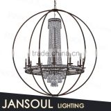 big iron ball cover crystal candelabra chandelier antique wrought iron chandelier pendant light for hotel wedding decoration