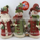 10.5 INCH WHOLESALE PLUSH SITING FABRIC CHRISTMAS GIFT SNOWMAN SANTA CLAUS WITH TREE TINDOOR DECORATION 3ITEM
