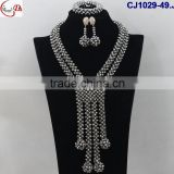 CJ1029 silver Top selling African fashion hand-weaved high quality beautiful Jewelry with earing set match dress for party