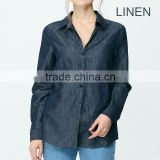 Women Lady Solid Loose Linen Blouse Long Sleeve Shirt Apparel OEM ODM Type Clothing Factory Manufacturer From Guangzhou