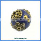 Wholesale Round Vintage Clay Indonesia Bronze Flower Beads PCB-M100617