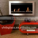 Ethanol fireplace glass panel