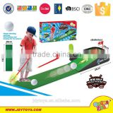 Hot sale plastic b/o sport toy golf practice sets with sound light & music,indoor sport game golf ball play game for kids