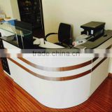 Newest OEM/ODM modern style office wood hotel counter design reception desk with general size