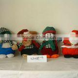 promotional customized stuffed plush christmas snowman,reindeer,penguin,santa claus animal toy with christmas scarf,hat,glove