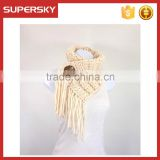V-11 Fringed chunky crochet knit coconut scarf with shell button knitting pattern knitting infinity loop scarf