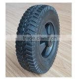 10x2.75 semi pneumatic rubber wheel with turf 100# tread and black plastic rim for mowers or material handling equipment