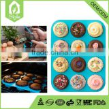 China Manufacture Wholesale Baby Bake Cake 12 cups Silicone Cupcake Mold muffin cup pan baking mold